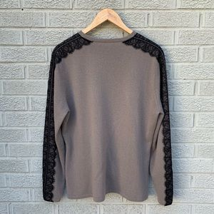 Neiman Marcus Cashmere Sweater with Lace Trim